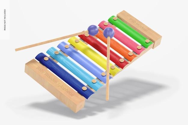 Maquete de xilofone de madeira para bebês, caindo