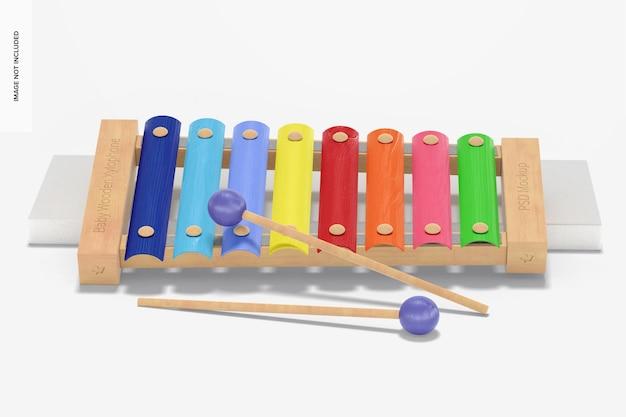 Maquete de xilofone de madeira para bebês, inclinado