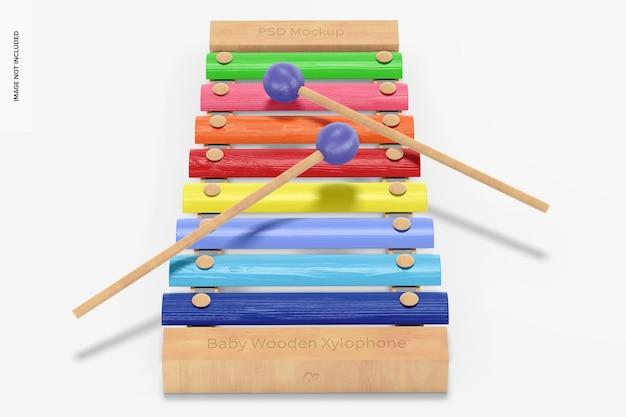 Maquete de xilofone de madeira para bebês, perspectiva