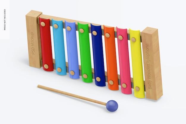 Maquete de xilofone de madeira para bebês, vista esquerda isométrica