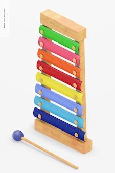 Maquete de xilofone de madeira para bebês, vista isométrica