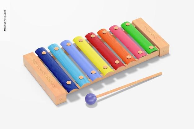 Maquete de xilofone de madeira para bebês, vista superior