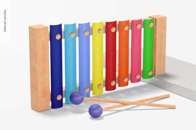 Maquete de xilofone de madeira para bebês