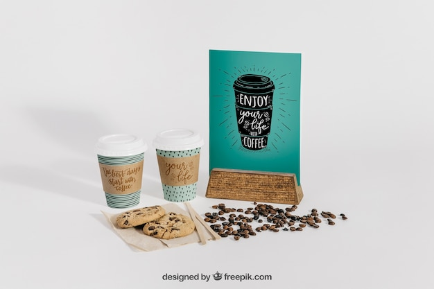 Maquete decorativa de café