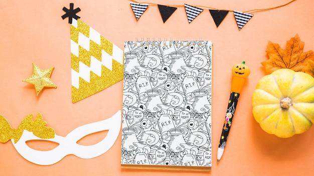 Maquete decorativa de capa de livro de halloween