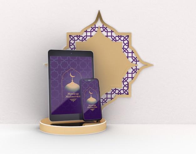 Maquete digital de tablet e smartphone