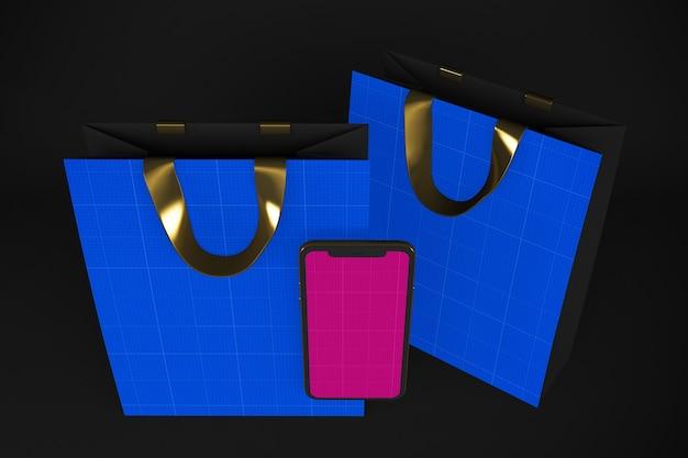 Maquete do aplicativo gold e dark shopping