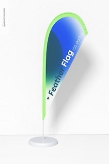 Maquete do banner da bandeira de penas, vista frontal