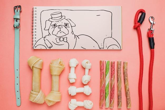 Maquete do bloco de notas com o conceito de cão