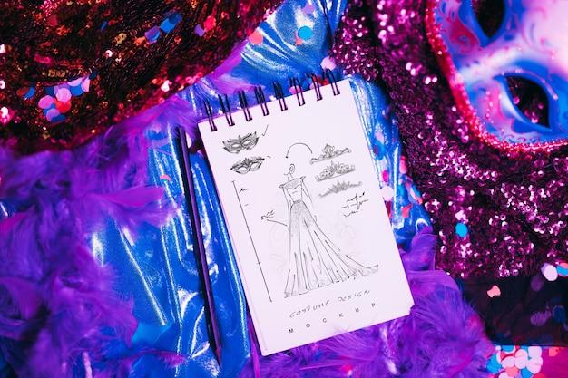 Maquete do bloco de notas com o conceito de carnaval