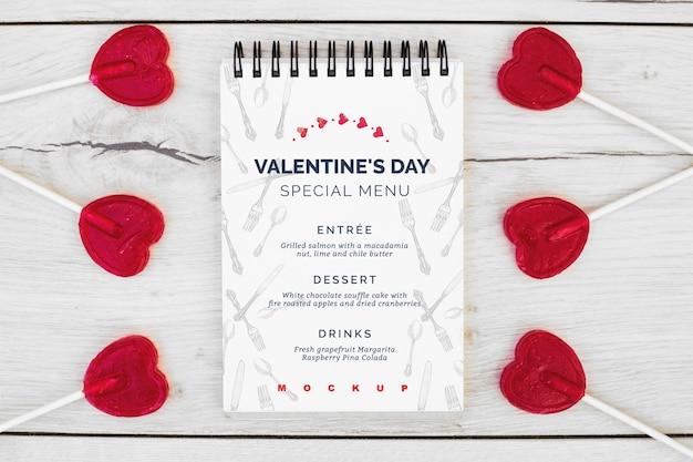 Maquete do bloco de notas para o menu de dia dos namorados