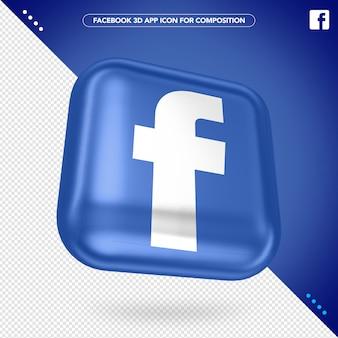 Maquete do botão do aplicativo facebook 3d
