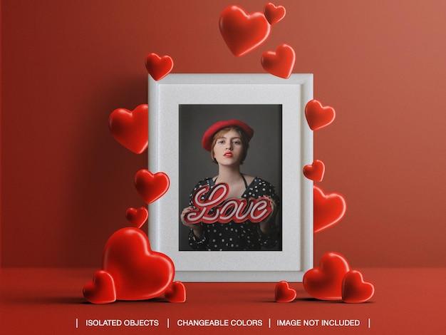 Maquete do cartão com foto para o conceito do dia dos namorados com corações isolados