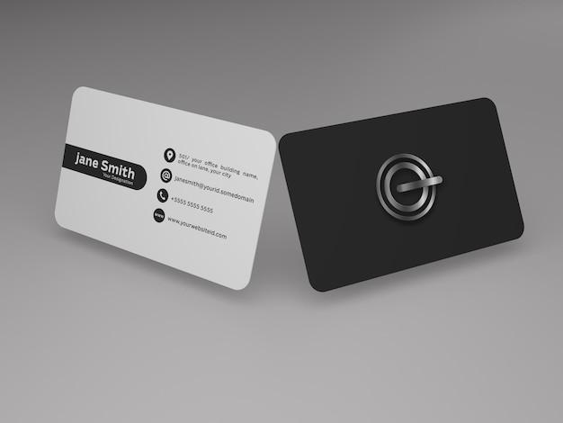 Maquete do cartão de visita da frente e verso
