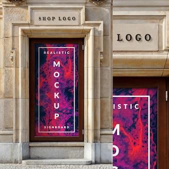 Maquete do cartaz de caso de vidro de janela e logotipo de loja 3d no edifício de arquitetura clássica