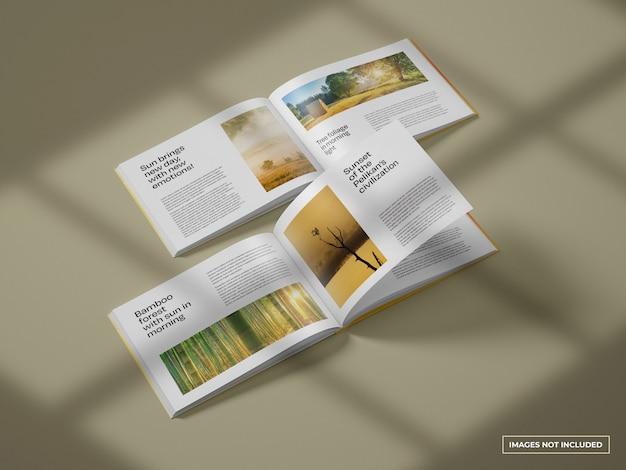 Maquete do catálogo horizontal aberto