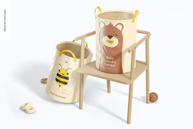 Maquete do cesto de roupa suja para bebês, vista direita
