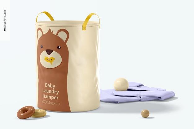 Maquete do cesto de roupa suja para bebês, vista esquerda
