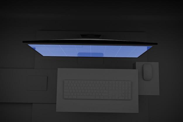 Maquete do computador escuro pro