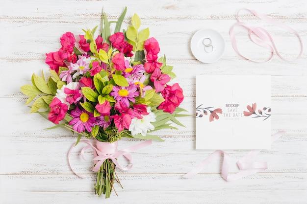 Maquete do conceito de casamento floral Psd grátis