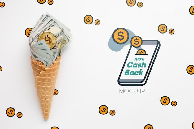 Maquete do conceito de cashback