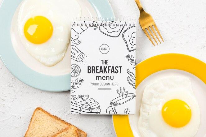 Maquete do conceito de delicioso café da manhã