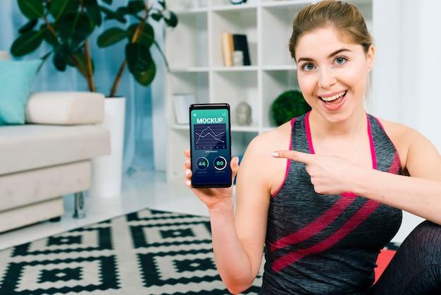 Maquete do conceito de fitness em casa
