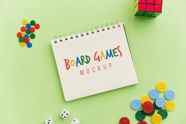 Maquete do conceito de jogos de tabuleiro