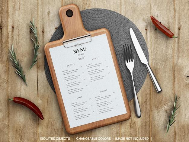 Maquete do conceito de menu de comida de restaurante com tábua de cortar alecrim e talheres