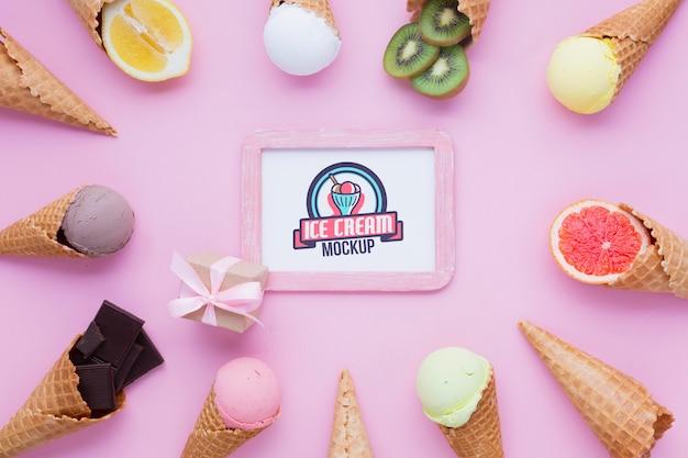 Maquete do conceito de sorvete delicioso