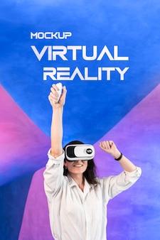 Maquete do conceito de tecnologia de realidade virtual
