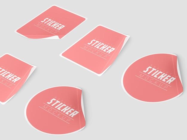 Maquete do conjunto de adesivos de perspectiva
