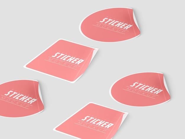 Maquete do conjunto de adesivos em perspectiva