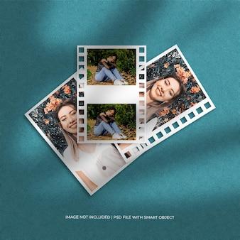 Maquete do conjunto de porta-retratos de viagem e papel de filme