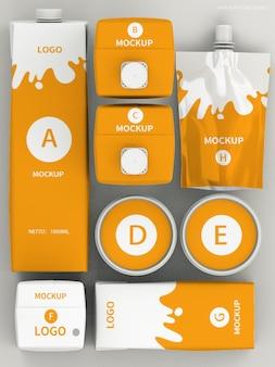 Maquete do conjunto de produtos de embalagem