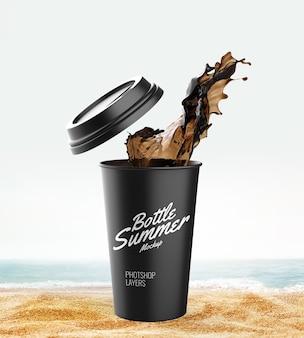 Maquete do copo splash na praia