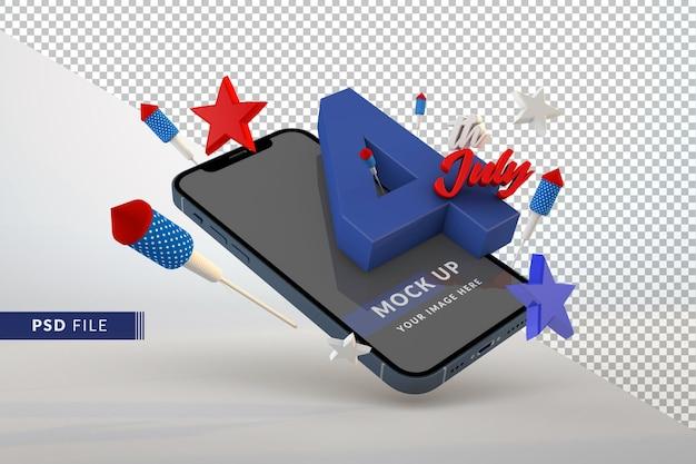 Maquete do dia da independência, 4 de julho, smartphone isolado