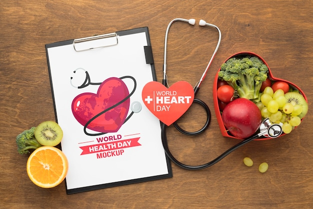 Maquete do dia da saúde com alimentos saudáveis