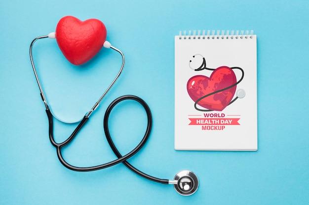 Maquete do dia da saúde plana lay