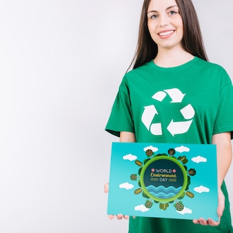 Maquete do dia do meio ambiente com papel de exploração voluntário