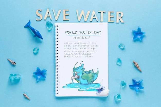 Maquete do dia do oceano salvar a água
