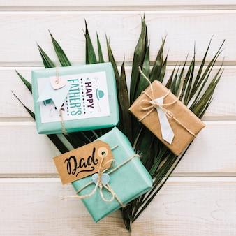 Maquete do dia dos pais com caixas de presentes