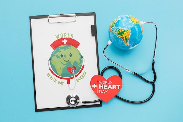 Maquete do dia mundial da saúde no plano horizontal