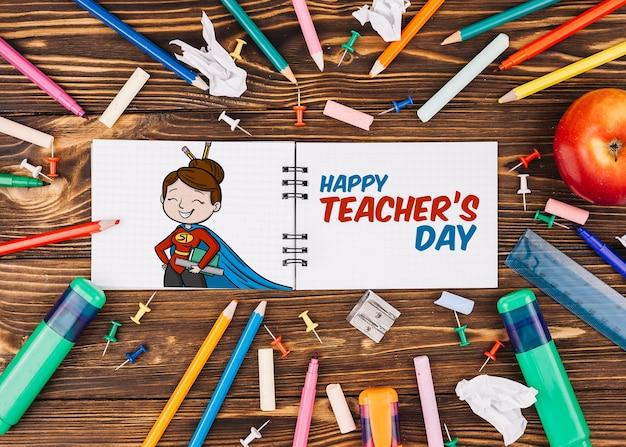 Maquete do dia mundial do professor com livreto