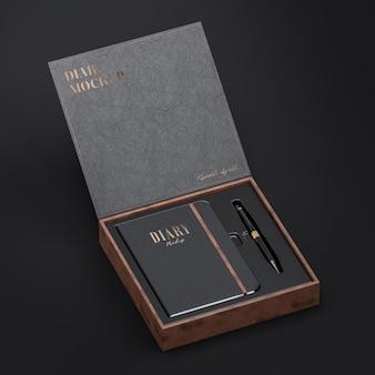 Maquete do diário de couro preto e maquete da caixa de couro para logotipo e apresentação da marca renderização em 3d