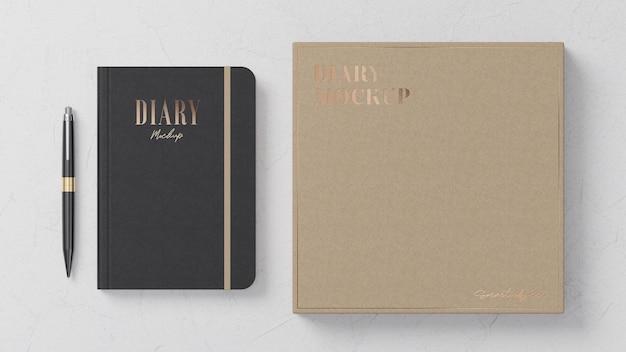 Maquete do diário de couro preto maquete da caixa de papelão layup plano para apresentação da marca renderização em 3d