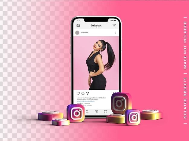 Maquete do dispositivo da tela do telefone com grupo 3d ícones do logotipo do instagram conceito de mídia social isolado