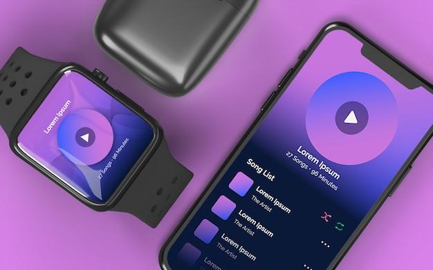 Maquete do dispositivo do smartphone smartwatch e caixa do fone de ouvido