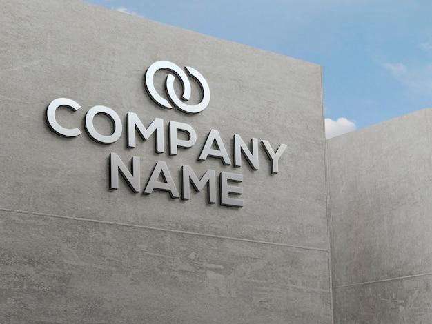 Maquete do efeito do logotipo da fachada de concreto