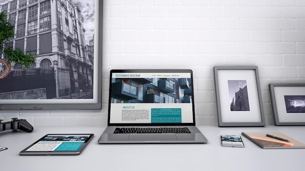 Maquete do espaço de trabalho com computador